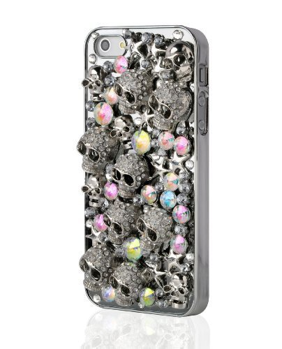 iPhone 4 Case - 3D Skull Encrusted Aluminium Back Cover for iPhone 4 4s, Silver
