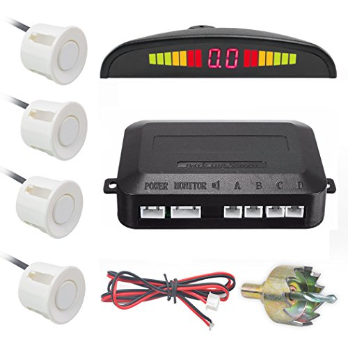 Chylay LED Display Parking Sensor Kit Car Reverse Backup Radar System Auto Safety Alarm with 4 Parking Sensors Warning Tone Display Monitor Kit