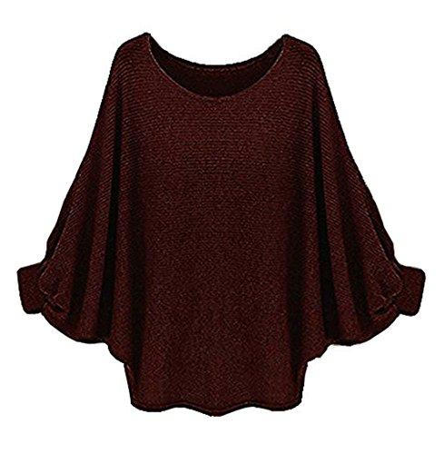 Suimiki Women's Batwing Sleeve Loose Blouse T Shirt Casual Pullover Top Coffee Large