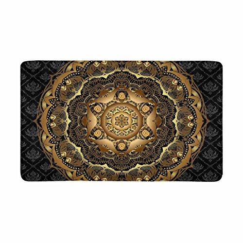 InterestPrint Vintage Gold Mandala Pattern on Black Damask Ethnic Ornament Doormat Anti-Slip Entrance Mat Floor Rug Indoor/Outdoor Door Mats Home Decor, Rubber Backing Large 30