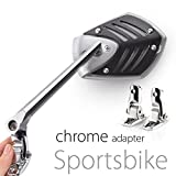 Motorcycle Mirror Shield Sports bike Black with chrome adapter