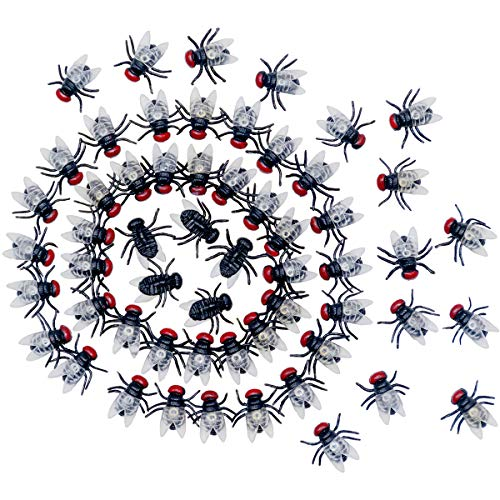(O-Best 100Pcs Mini Flies Verisimilar Magic Trick Joke Toy Halloween Prop Prank Plastic Flies Kidding Novelty)