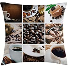 Kitchen Throw Pillow Cushion Cover by Lunarable, Collage of Coffee and Products Beans Deserts Ice Cream Cinnamon Hot Drink, Decorative Square Accent Pillow Case, 40 X 40 Inches, Dark and Pale Brown
