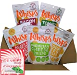 5-Pack Assortment Whisps Cheese Crisps (2.12oz) and Ice Chips Xylitol Peppermint (1oz) Bundle