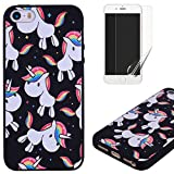 For iphone 5/5S iphone SE Case Silicone Black,OYIME Luxury [Rainbow Unicorn] Unique Relief Pattern Design Soft Rubber Ultra Thin Slim Fit Protective Back Cover Drop Protection Anti-Scratch Bumper and Screen Protector