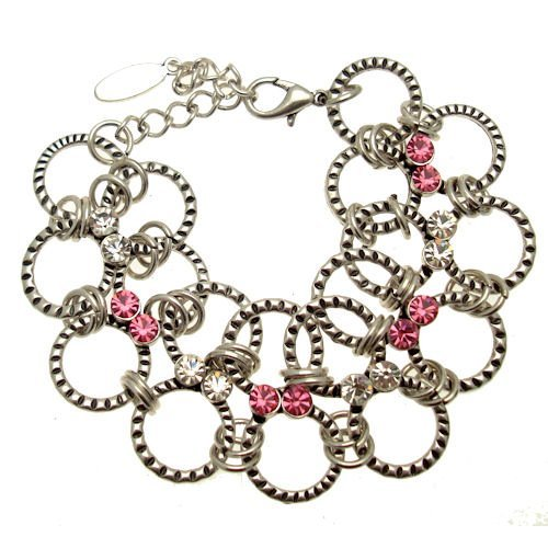Link Costume Uk (Acosta Jewellery - Pink & Clear Swarovski Crystal - Round Links Silver Costume Bracelet)