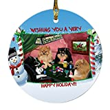 Home of Pomeranians 4 Dogs Playing Poker Photo Round Christmas Ornament