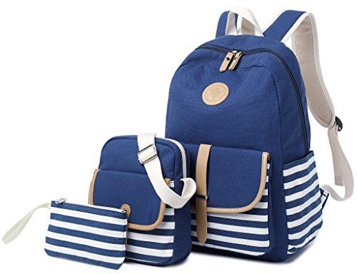 School Backpack for Girls, Gazigo Womens High School College Bookbags Laptop Bag (Blue) (College Bags For Girls)