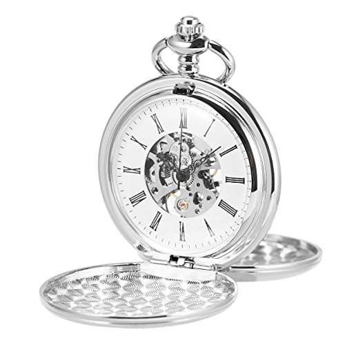 ManChDa Double Cover Open Skeleton Pocket Watch Mechanical Roman Numerals Hand Wind Full Hunter Watch (2.Silver)