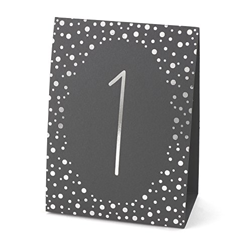 Hortense B. Hewitt Wedding Accessories Polka Dot Table Tents, Silver Foil, Numbers 1 to 40
