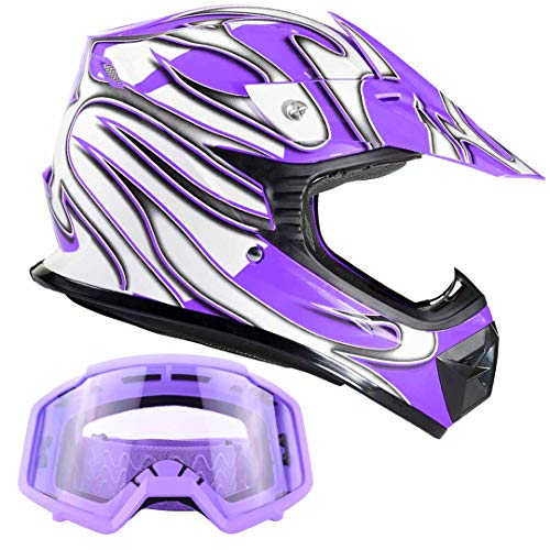 Kids Youth Offroad Gear Combo Helmet & Goggles DOT Motocross ATV Dirt Bike MX Motorcycle Purple - Large