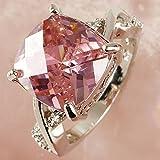 Luxury Pink & White Gemstone Fashion Jewelry Women Gift Silver Ring Size 6 7 8#by pimchanok shop (7)