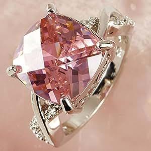 paweena Amethyst Pink White Silver Women Ring Size 6 7 8 Xmas Gift (6)