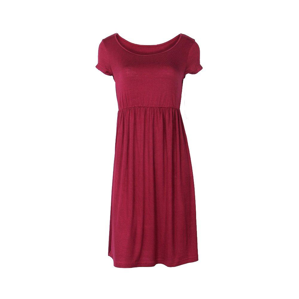 Primoda Women Casual Short Sleeve Waist Tunic TShirt Dresses(Wine Red,M)