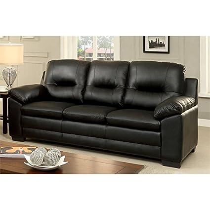Amazon.com: Furniture of America Pallan Leather Tufted Sofa ...