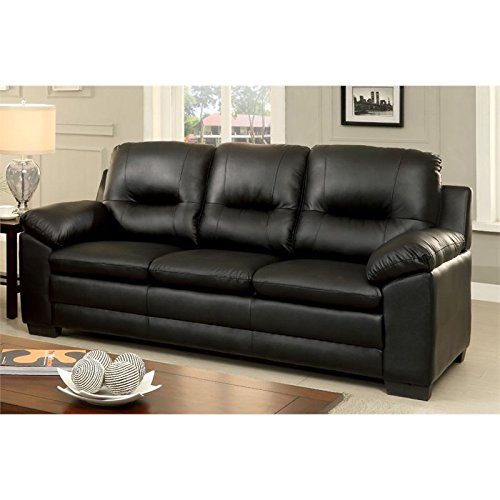 Furniture of America Pallan Leather Tufted Sofa in Black