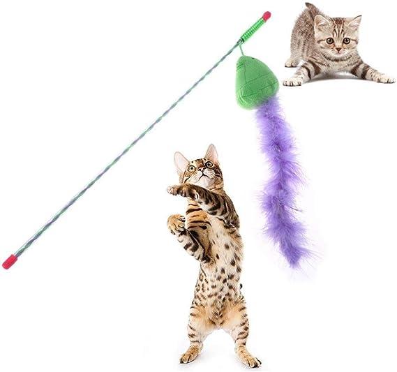 WUXXX Caña de Pescar Flexible Mascota Gato Juguete púrpura ...