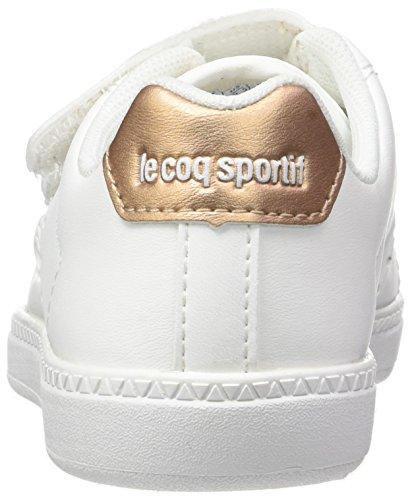 Le Coq Sportif Courtone Ps S Lea/Metallic, Entrenadores Bajos Unisex Niños Blanco (Optical White/rose G)