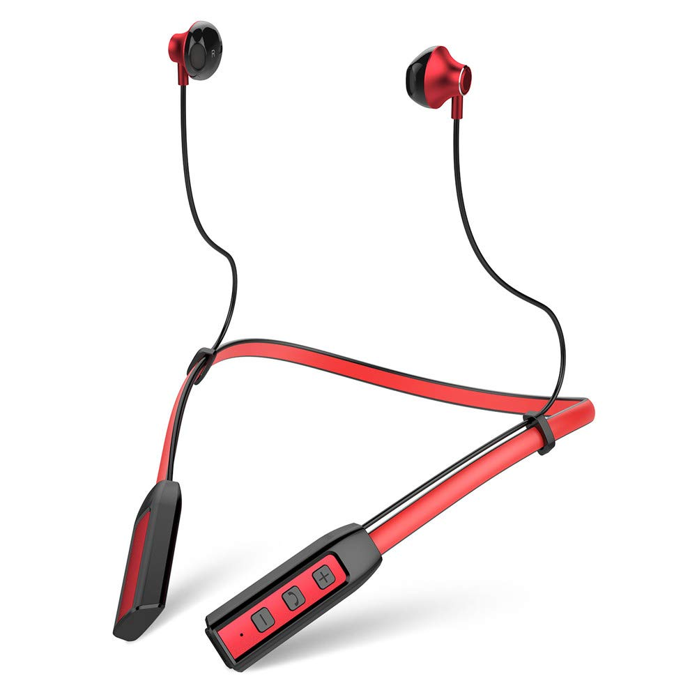 Bluetooth Headset Neckband Waterproof Sport Earphones with Microphone Wireless Lightweight Neckband, YiMiky Bluetooth Magnetic Earphones Stereo Neckband Headset for Women - Red