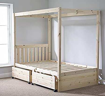Four Poster Bed with Storage - 4ft 6 double solid natural pine 4 ...
