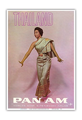 Thailand - Thai Dancer - Pan American World Airways - Vintage Airline Travel Poster c.1970s - Master Art Print - 13in x 19in by Pacifica Island Art