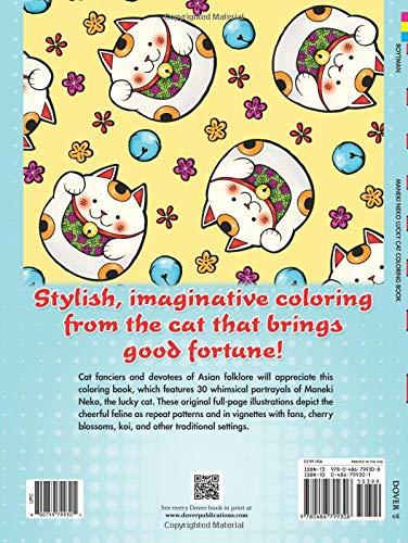 Maneki Neko Lucky Cat Coloring Book Dover Clip Art Design Tools
