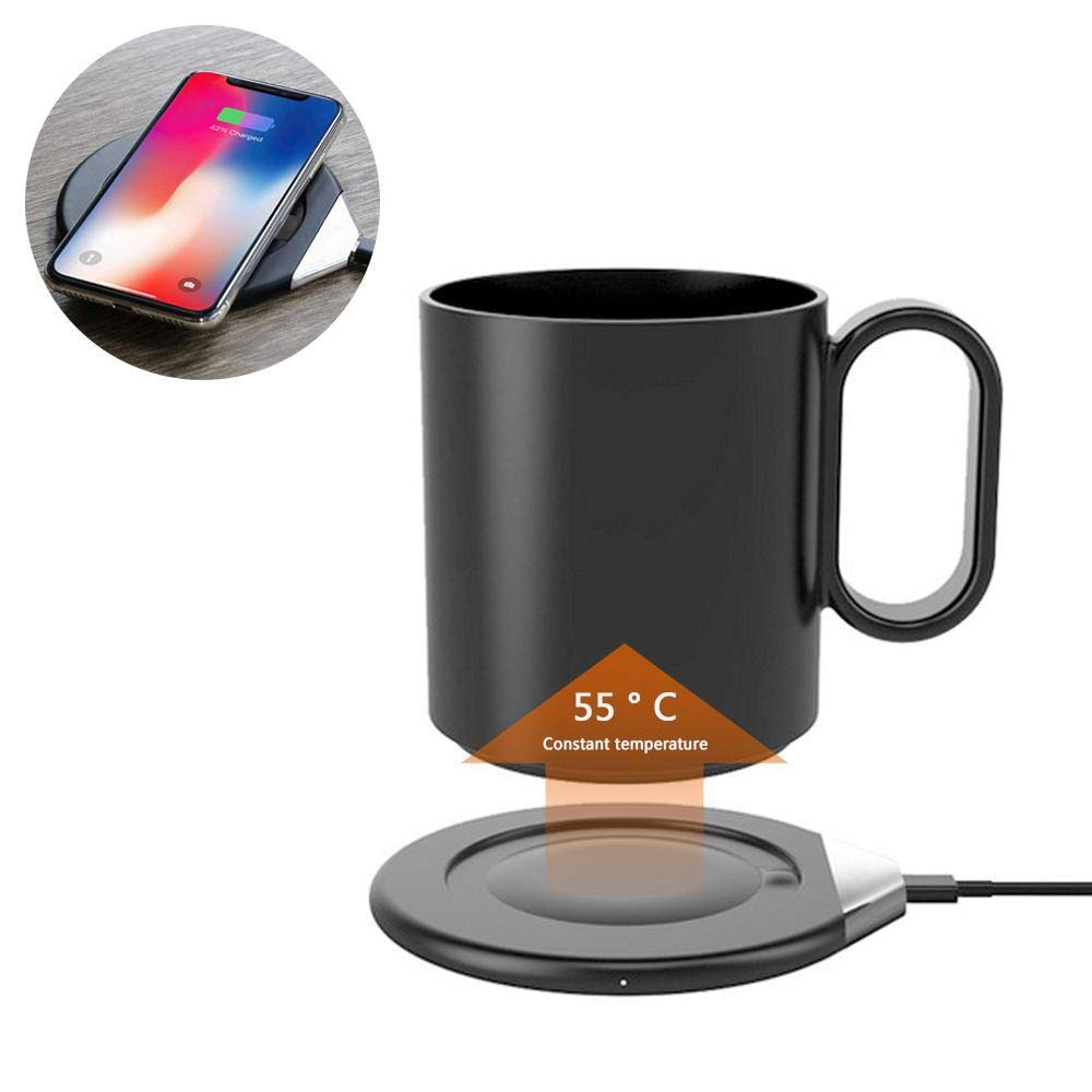 Volwco Coffee Mug Warmer with Wireless Charger (2 in 1), 55 Degree Mug Warmer, Wireless Charging, Intelligent Constant Temperature Warming Cup Ceramics Mug