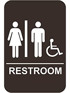 Amazoncom ADA Men Womens Handicap Restroom Sign Set Brown - Ada compliant bathroom signs