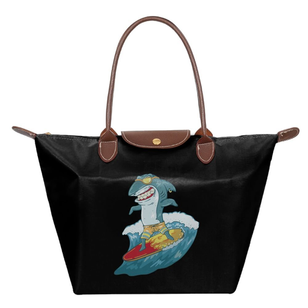 YDIW-BAG2 Funny Surfing Shark With Glasses Lady's Foldable Dumpling Handbag Waterproof Beach Bags For Working