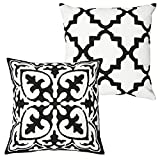 Decorative Pillow Cover - DOZZZ Clearance Sales Throw Pillow Cover Set of 2 Black and White Vintage Style Cotton Linen Square Throw Pillow Case Decorative Cushion Cover Cushion Case for Sofa,Bed,Chair WITHOUT PILLOW INSERT