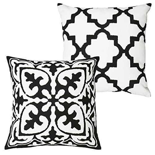 DOZZZ Clearance Sales Throw Pillow Cover Set of 2 Black and White Vintage Style Cotton Linen Square Throw Pillow Case Decorative Cushion Cover Cushion Case for Sofa,Bed,Chair WITHOUT PILLOW INSERT