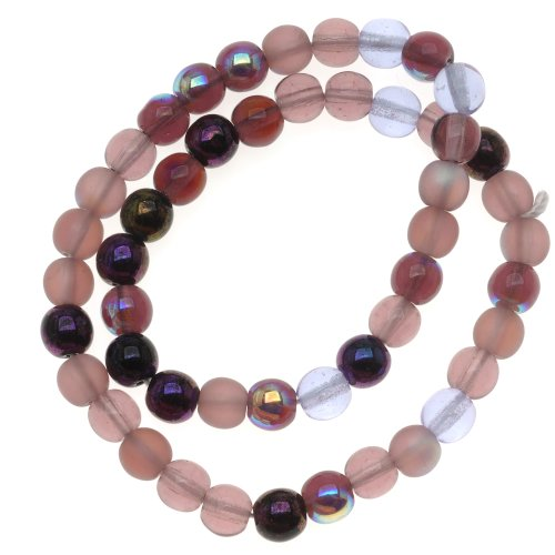 Beadaholique Czech Glass Druk 50-Piece Round Beads, 6mm, Lilac Purple Mix (Czech Glass 6mm Druk Beads)