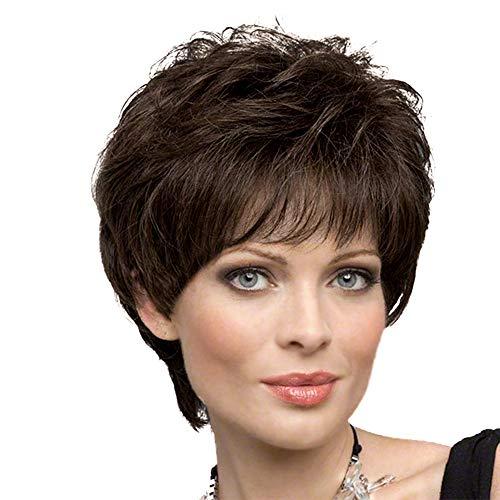 Short Wigs for Women Blonde Unicorn Human Hair Wigs with Bangs Dark Brown Hair ()