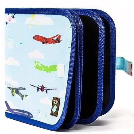 Innovadora pizarra de tiza Jaq Jaq Bird, para niños, para colorear y dibujar durante viajes o en casa, de 8 páginas borrables y reutilizables con 4 ...