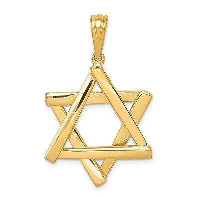 14k Yellow Gold Star of David Pendant