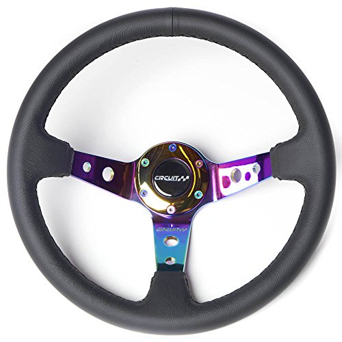 Drift Wheel (Circuit Performance CP330 Steering Wheel Neo-Chrome with Black Leather and Black Stitching 350mm Deep Dish)