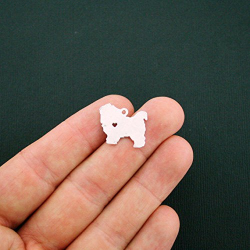 2 Dog Charms Silver Tone Chow Chow Dog Breed 2 Sided Heart Cutout - SC5866 Jewelry Making Supply Pendant Bracelet DIY Crafting by Wholesale Charms
