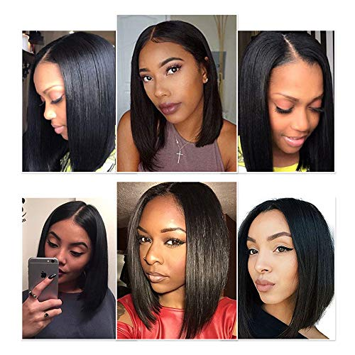 """Halo Lady Straight Short Bob Wig Brazilian Human Hair Wigs Lace Front Bob Wig for Women 13""""X4"""" Middle Part Hand-Made Lace Area (10 inch)"""