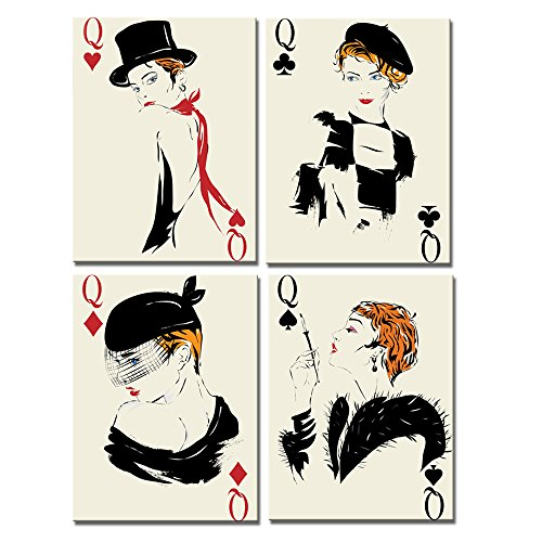 Live Art Decor - Girl in Playing Card Canvas Print Wall Decor,Retro Style Poker Canvas Art Framed,4 Panels Artwork for Casino Pub Club Decoration