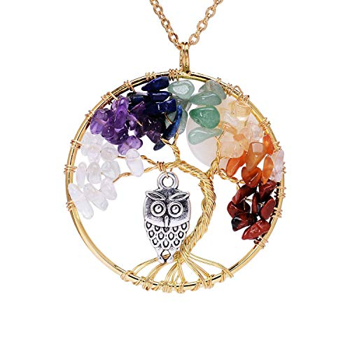 (Gold Plated Family Tree of Life Birthstone Chakra Necklace for Women Root 7 Chakra Gemstones Tree of Life Pendant Rainbow Stone Necklace with Owl Full Moon Tree of Life Wire)