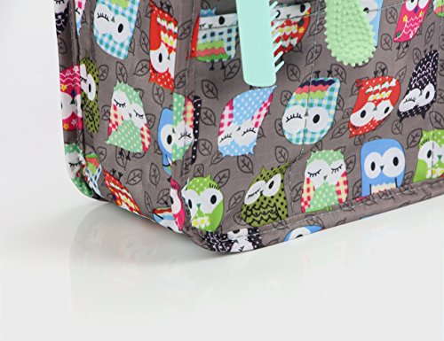 Cosmetic Bag for Women Cute Printing 14 Pockets Expandable Makeup Organizer Purse with Handles (Owl) by MICOM (Image #7)