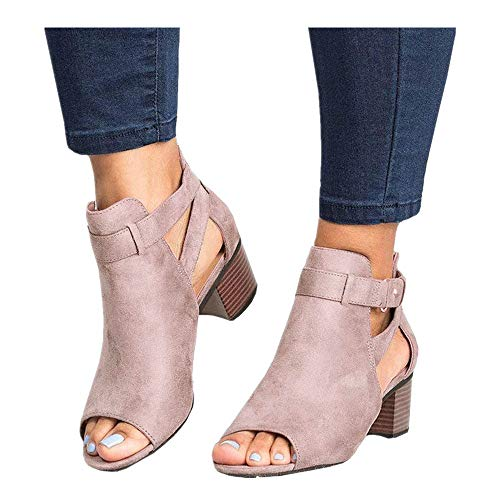- Women's Ankle Strap Buckle Mid Wedge Platform Heeled Sandals 6.5CM Summer Dress Sandals Pump Shoes (Pink -1, US:8.0)