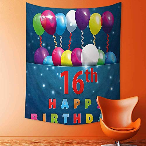 adshdjfbdjh2 Tapestry Wall Hanging Decor Decorations Sweet Sixteen Teenage Party Balloons Kitsch Celebration Image Multicolor Home Hippie Bohemian Tapestry for Dorms 150x150 -