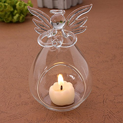 1pc Home Holiday Christmas Decorations for Creative Transparent Crystal Glass Angel Candle Holder Wedding Candlelight Dinner Gift