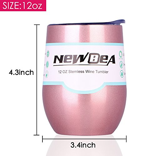 NEWBEA 12 oz Wine Tumbler with Lid, Double Wall Vacuum Insulated Stemless Glass,Stainless Steel Wine Cup Perfect for Wine,Coffee,Drinks,Champagne,Cocktails by NEWBEA (Image #3)