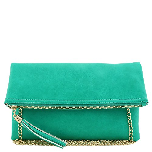 Tassel Accent Flapover Clutch Purse with Chain Strap Mint