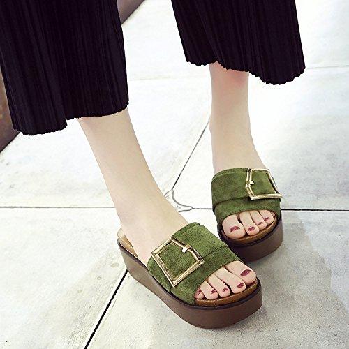 di spessore Donna Sandali Da rilasciare Alla raso Moda AJUNR pantofole Verde e Anti trascinare scatta 36 metallo 38 6cm slittamento 71Pxwqd