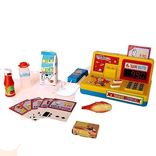 Kids Toy Supermarket Store Playset - 12 Piece Set with Play Shop Cash Register, Barcode Scanner, Food Items, Money and More - By Dazzling Toys (Best French Supermarket Snacks)