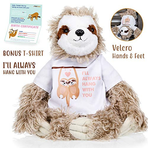 Sloth stuffed animal - The Original I'll Always Hang with you Large Sloths plush animals toy. Sloth gifts w/ Velcro Hands for Birthdays, Valentines or Christmas. Cute, Fun, Soft, and Pre Gift Wrapped! (Large Animal Sloth Stuffed)