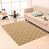 Nalahome Custom carpet nt Oriental Wave Design Contemporary Illustration Of Old Royal Pattern Chic Mod Art French Beige area rugs for Living Dining Room Bedroom Hallway Office Carpet (5' X 8')